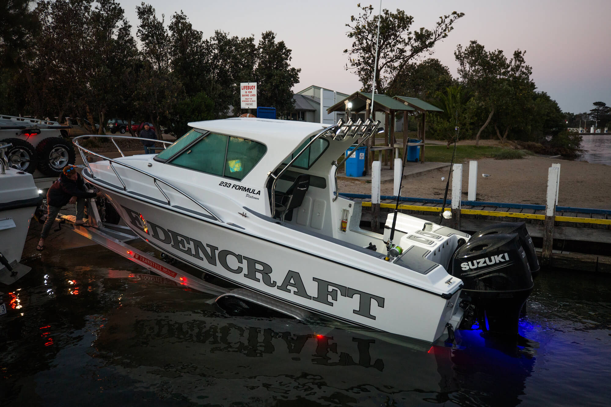Edencraft 233 Formula Platinum being launched from Transtyle trailer