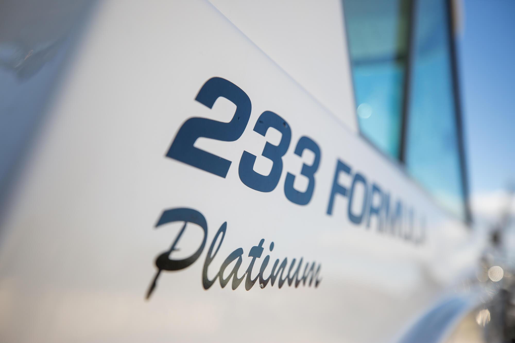 233 Formula Platinum sticker on an Edencraft 233 Formula Platinum boat