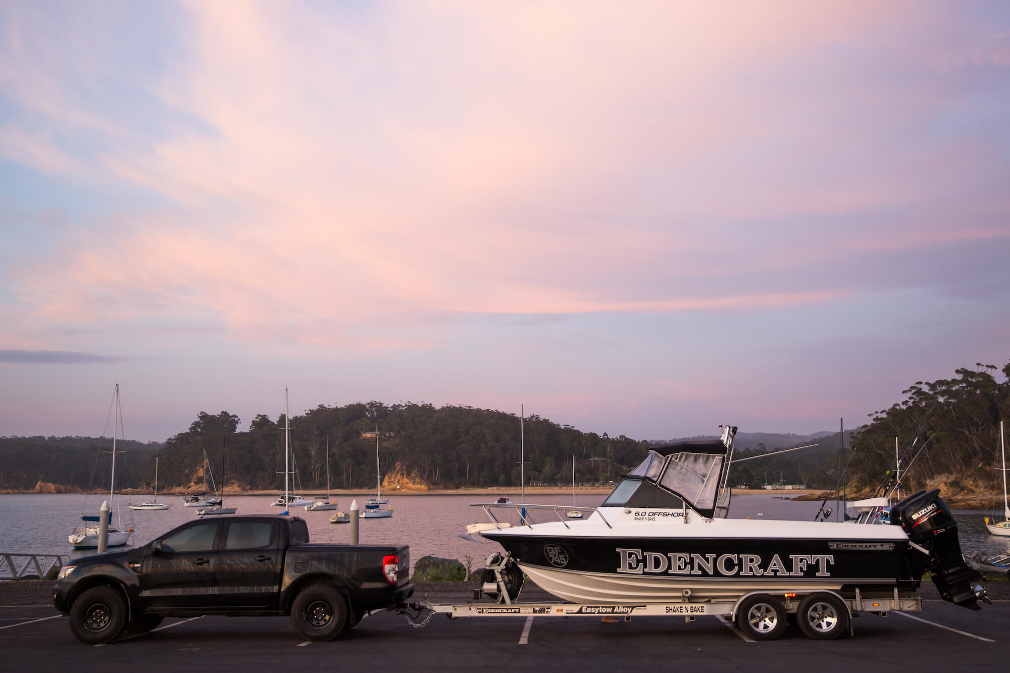 Edencraft 6.0m Offshore being towed on an EasyTow trailer
